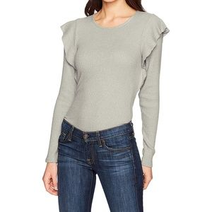 NEW Lucky Brand  Ribbed Ruffle Pullover Sweater